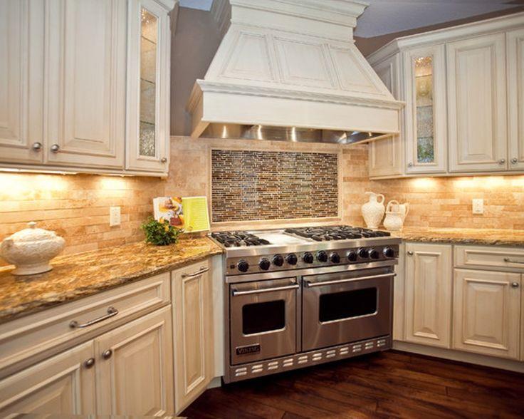 White Ornamental Granite Countertops With Antique Cabinets