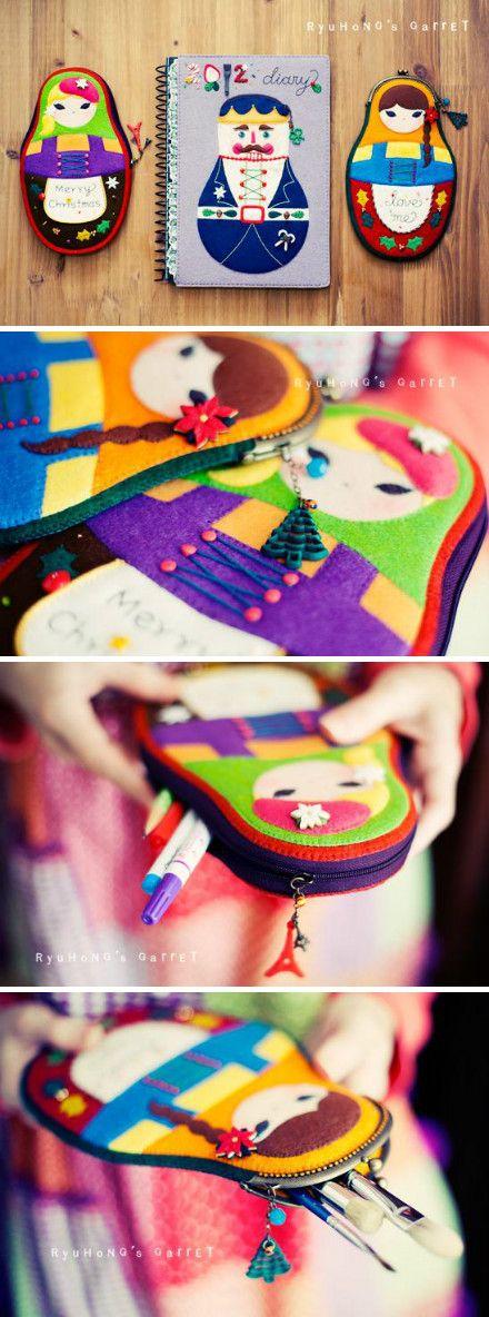 Matrioshka pencil case with zipper or purse frame