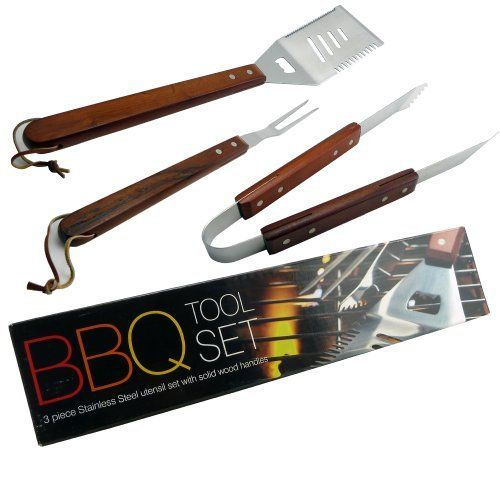 3 Pieces Stainless Steel BBQ Tool Set With Wood Handles
