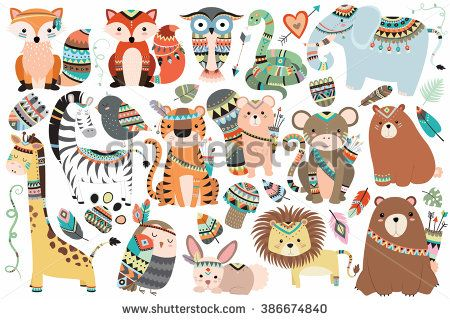 Woodland and Jungle Tribal Animals Isolated Vector Set - stock vector