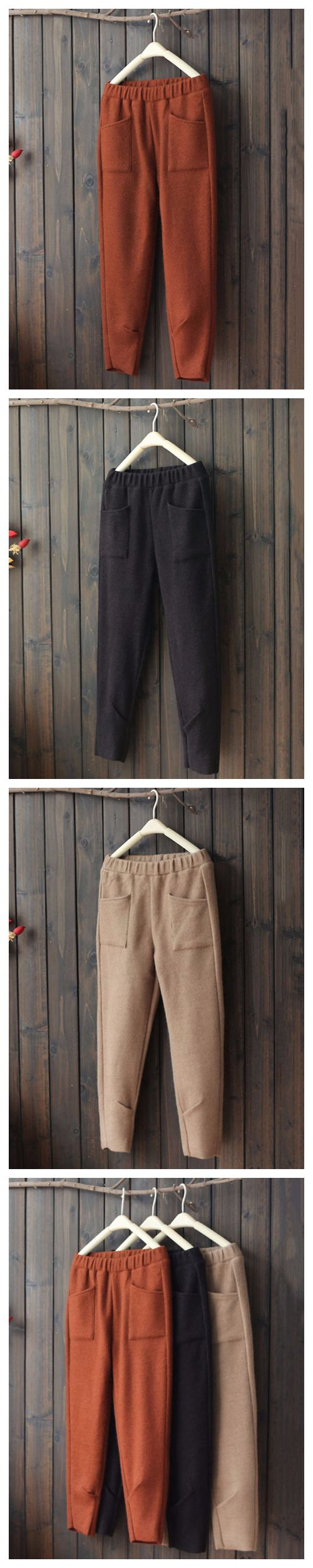 Casual Brief Solid Color Women Elastic Waist Harem Pants