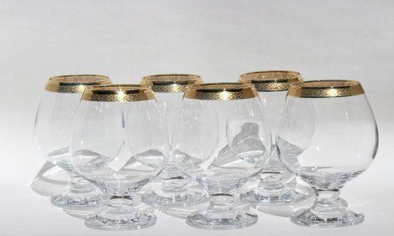 Gold Rimmed Wine Glasses set of 6  Short Stem by Globalfindings