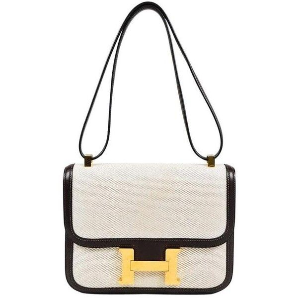 """Hermes """"Constance 23"""" Natural Brown Toile Canvas Leather Flap Bag (53375 MAD) ❤ liked on Polyvore featuring bags, handbags, white canvas handbag, hermes handbags, white purse, hermès and hermes purse"""