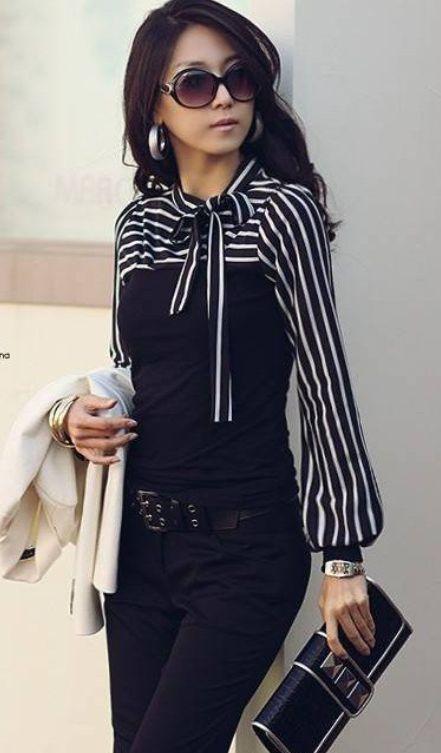 Chic Long Sleeve Turtleneck Blouse + black trousers / jeans