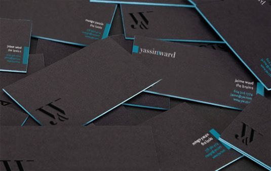 Yassin&Ward business cards, black stock, letterpress painted edges and painted lettering.  http://www.yassinward.com