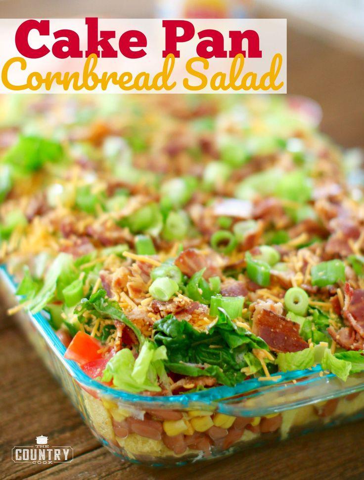 Cake Pan Cornbread Salad with BBQ Ranch Dressing