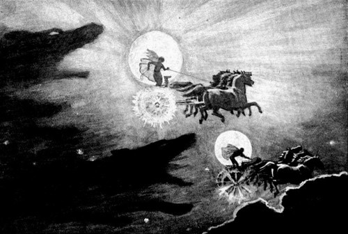 In Norse mythology the Sun and Moon are known as Sol and Máni. Sol and Máni are constantly racing across the skies in their chariots because of the two wolves that chase them, Skoll and Hati. The two wolves are children of a Jotun that lived in the east woods. Skoll spends all his time pursuing the sun with ambitions to swallow it whole, as Hati pursues Máni with the same intentions. This is why there is night and day.