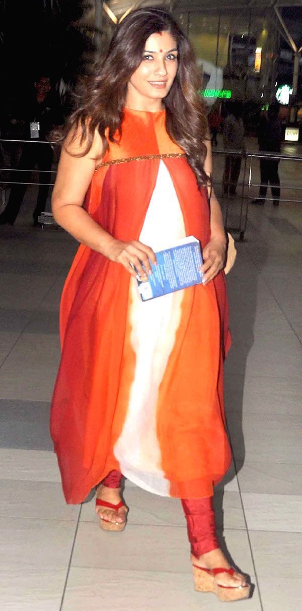 Raveena Tandon made heads turn with her stylish outfit at the airport.