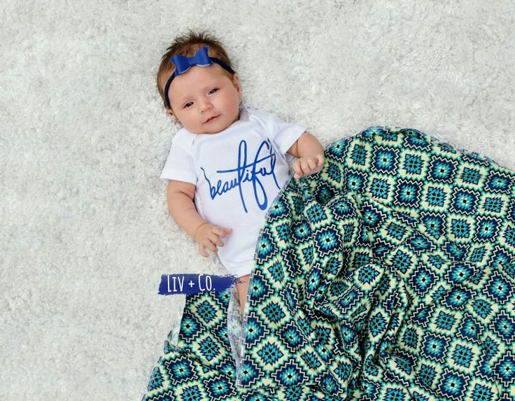 The perfect baby shower gift or birthday gift for that little Bohemian princess in your life!  Our signature 'Beautiful' baby bodysuit or tee and handmade 32x32 blue aztec flannel baby swaddle blanket set is nothing short of breathtaking.