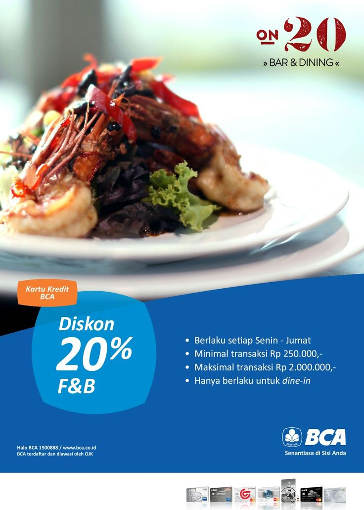 Friday Deal! We are giving 20% off for all BCA Credit Card holder from Monday - Friday with Minimum Transaction Rp. 250.000,- and Maximum Transaction Rp. 2.000.000,- for Dine-in only.  RSVP Now +624113620800  #on20makassar | on20makassar.com