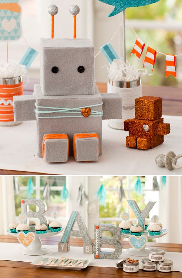 Robot Baby Shower - I love the color combo ... This is so cute! {+ FREE Printables!}    http://www.potterybarnkids.com/design-studio/celebration/bundle_of_bots_baby_shower.html    http://www.potterybarnkids.com/design-studio/invitations/bundle_of_bots_templates.html