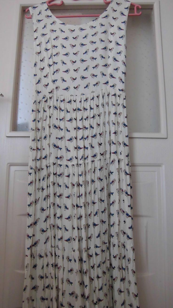 Kuşlu viskon elbise..