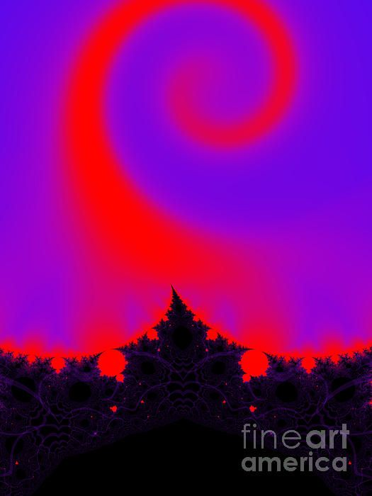 Magic forest. Pink, purple, red, black fractal by Tracey Lee Art Designs created in Ultra Fractal