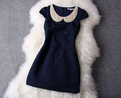 Navy Dress w/ Pearl Collar