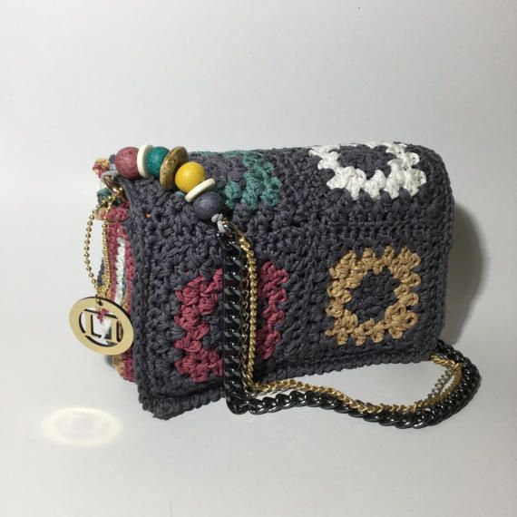 Granny Square handmade crochet bag