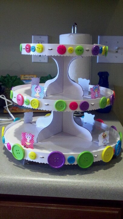 DIY cupcake stand...glue buttons on for a lalaloopsy party