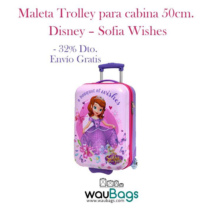 """Consigue en waubags.com la Maleta Trolley Disney """"Sofia Wishes"""", ahora por tan solo 65€ y con gastos de envío gratis!!  @waubags #disney #sofia #princesas #maleta #trolley #cabina #oferta #descuento"""