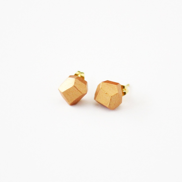 rose gold geo earrings by AMM Jewelry