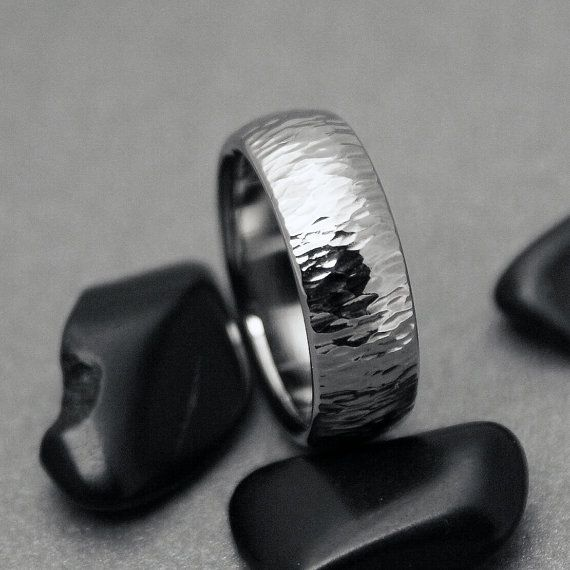 Hammered Titanium Ring Hammered Band Mens Titanium Ring