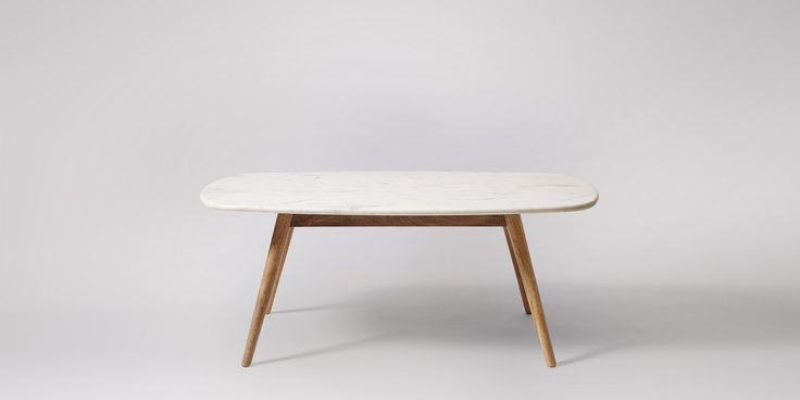 SWOON EDITIONS Kasper Coffee Table, White Marble & Mango Wood