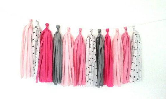 Blush pink, white black dots, fuchsia, gray and dark pink tassel garland - nursery garland - girls room garland - birthday garland