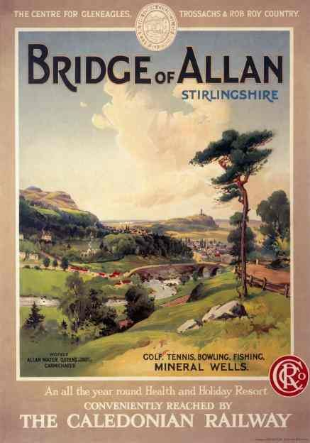 Vintage UK Railway Poster                   (curious about this place.. Bridge of Allan shows up on our family tree)