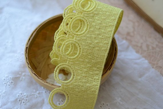 20 meter 5cm 1.96 wide yellow cotton embroidery by ivyverynice