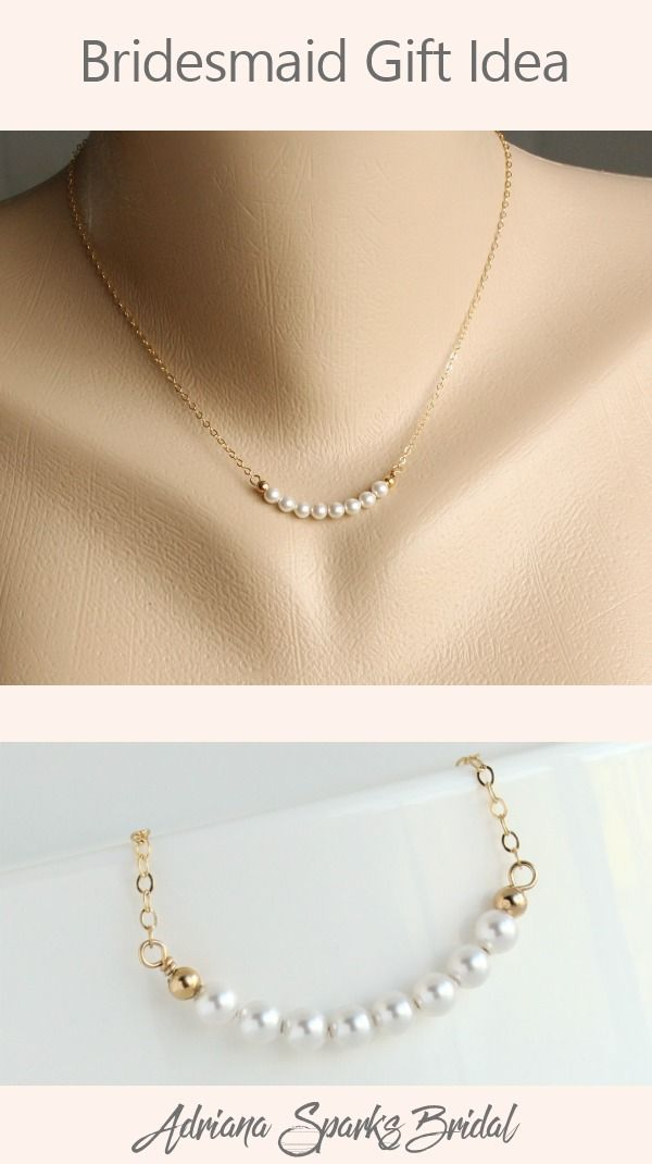 Pearl Bar Necklace Sister In Law Gift From Bride Tiny Pearls
