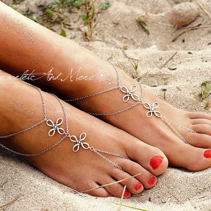 SL190 Vintage Boho Silver Plated Tassel ChineseKnot Pendant MultiLayer Chain Link Anklet Bracelet Foot Jewelry For Women 2017