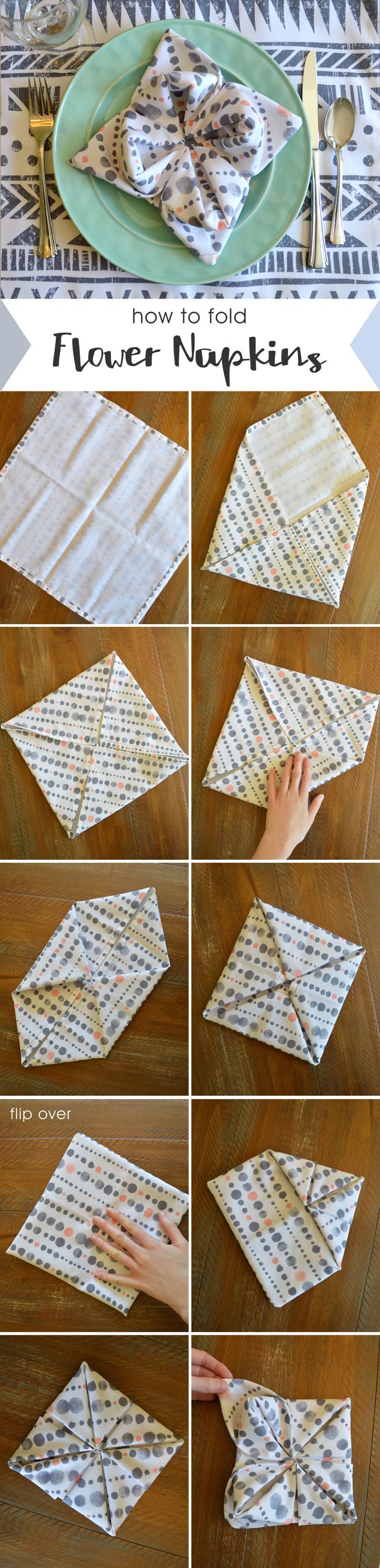 Gorgeous folded cloth napkin flowers for any party