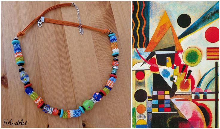 Size / Weight/Material a total of approx. 56 cm  weight 49 g.  Used materials Fastener from metal, glass beads, leather tape, wood, metal,-and ceramic beads  Production kind Hand-made