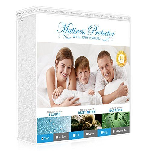 Premium Twin Mattress Protector, 100% Waterproof Hypoallergenic Mattress Cover with Cotton Terry Surface, Breathable, Vinyl Free, 10 Year Warranty Offered by Lighting Mall -  BEST PROTECTION FOR YOUR MATTRESS100% waterproof and stain-repellent design protect your mattress against stains and all liquids including bodily fluids, perspiration and accidental spills, and reduces daily wear and tear to keep your mattress clean and fresh. GIVE YOU A HEALTHY AND COMFORTABLE ...
