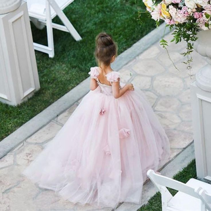 The discount flower girl dress which match the flowers-new pink tulle flower girl dresses lace applique communion dress open back floor length gowns for kids is offered in newdeve and on DHgate.com dog flower girl dress along with dresses flower girl are on sale, too.