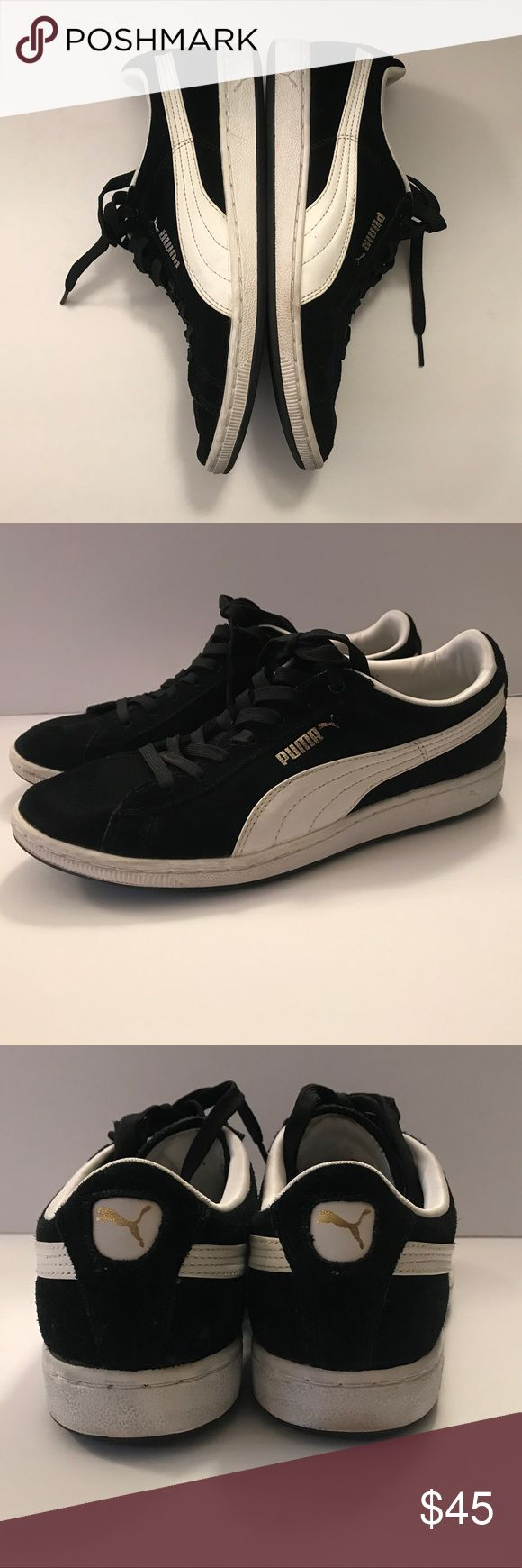 Puma Suede Black with White Leather Near new condition black puma suedes with white leather swoosh. These are Size 8, super clean no tears or stains! Soles can be whitened with a magic eraser but are already super bright. Make an offer. Puma Shoes Sneakers