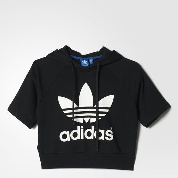 adidas Running Crop Hoodie (€57) ❤ liked on Polyvore featuring tops, hoodies, shirts, short sleeve hoodie, crop top, hooded sweatshirt, short-sleeve shirt and print shirts