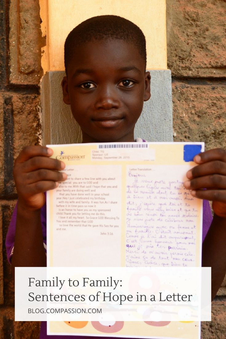 Sentences of hope in a letter. Our imaginations can barely scratch the surface of how a child feels when he or she opens a compassion letter. This blog post is all about that moment and the comfort and encouragement letter writing can bring to children and families. #compassionletter