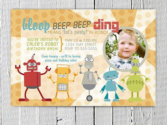 Robot Custom Birthday Invitation Printable, JPG PDF digital file, Picture invite, Boys Birthday party supplies Yellow Orange