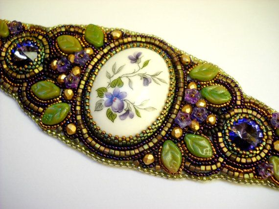 Bead Embroidery Bracelet Cuff Gold Purple Green  Bronze Violet Olive - bead embroidered  - Violet Cuff -  fashion - OOAK