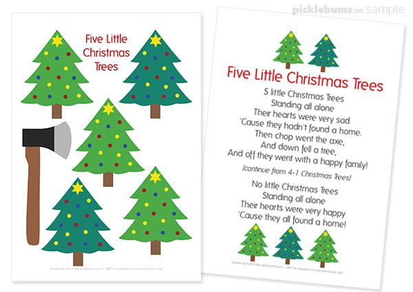Five Little Christmas Trees Song Free Printable Puppets Christmas Poems Christmas Tree Poem Preschool Christmas
