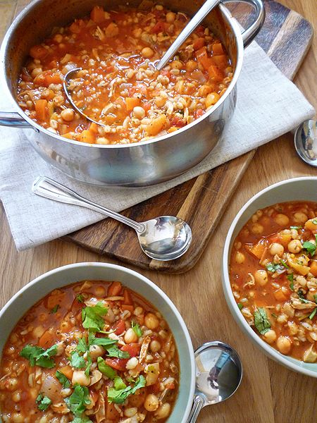 A hearty, spicy, Morrocan Style Chicken Soup filled with veg, chicken, chickpeas and pearl barley - sweetened with apricots