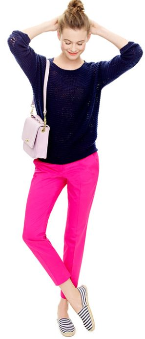 Pink pants, striped shoes, bun...I love everything about this outfit. Gabba Gabba Gorgeous