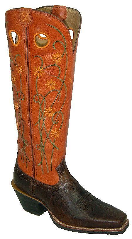 buckaroo  boots  | Womens Orange/Walnut Twisted X Buckaroo Boots