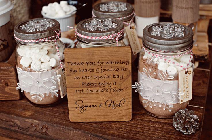 hot chocolate favors from Naturally Chic! Photo by Orange Girl photographs. #winterwedding #emeraldlakelodgewedding