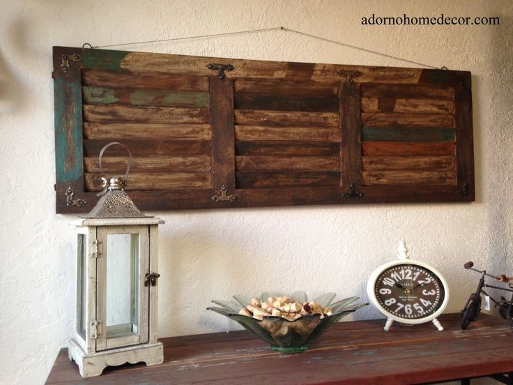 Rustic Wood Wall Panel Distressed Shutter Antique Vintage Shabby ... (With images) | Rustic wood wall decor. Rustic wood wall art. Rustic wall decor