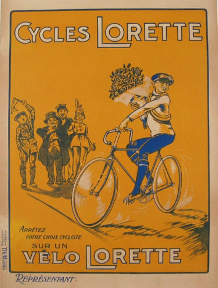Cycles Lorette original vintage cycling poster from 1930 France. This vertical French transportation poster features a cyclist holding a big bouquet of flowers riding past a crowd of cheering people.