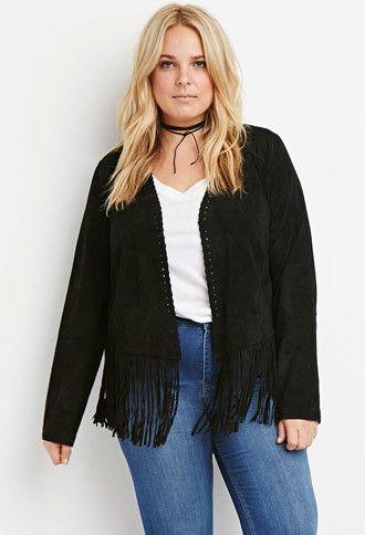 Plus Size Genuine Suede Fringed Jacket | Forever 21 PLUS - 2000172047