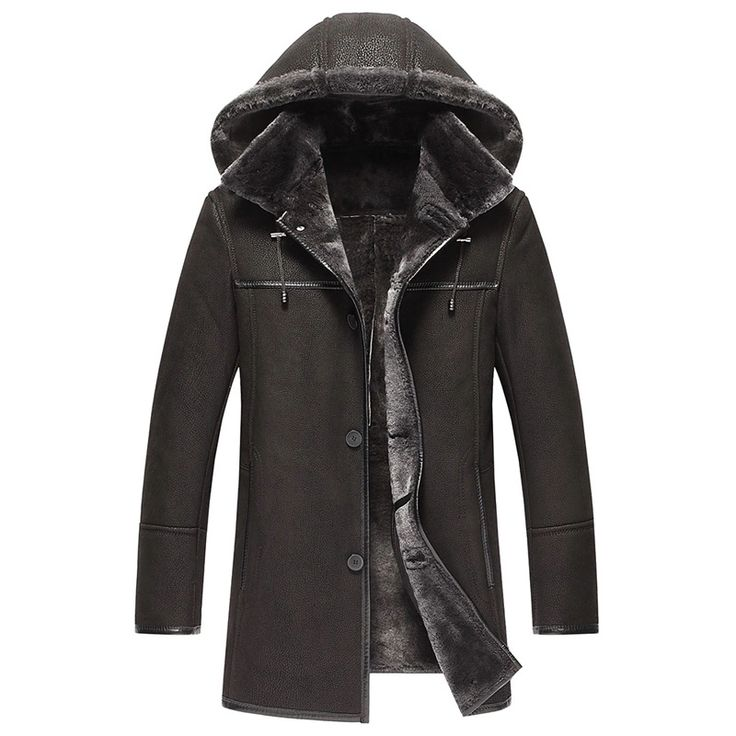 Men's Shearling Coat Removable Hooded Mens Leather Jacket X-long Men Casual Genuine Leather Outerwear