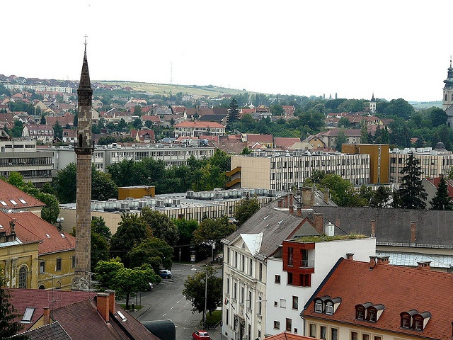 It isn't really that tall, but once you are up there it is a bit creepy. It is very narrow - Minaret and view from the castle - Eger Hungary by temp13rec., via Flickr