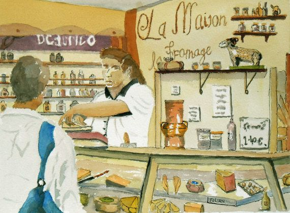 Fresh Food  Avignon Market Original by JulianLovegroveArt on Etsy, £60.00