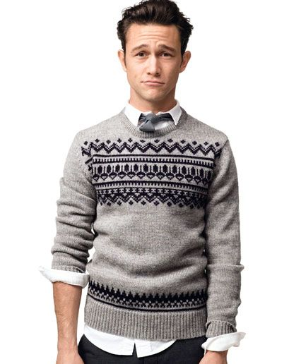 Joseph Gordon-Levitt sporting a more grown-up fair isle sweater from French Connection in the December 2009 issue of GQ.